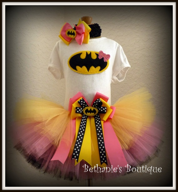 Bat Girl Batman tutu set Perfect for costume or by TooTuTuCute, $45.95
