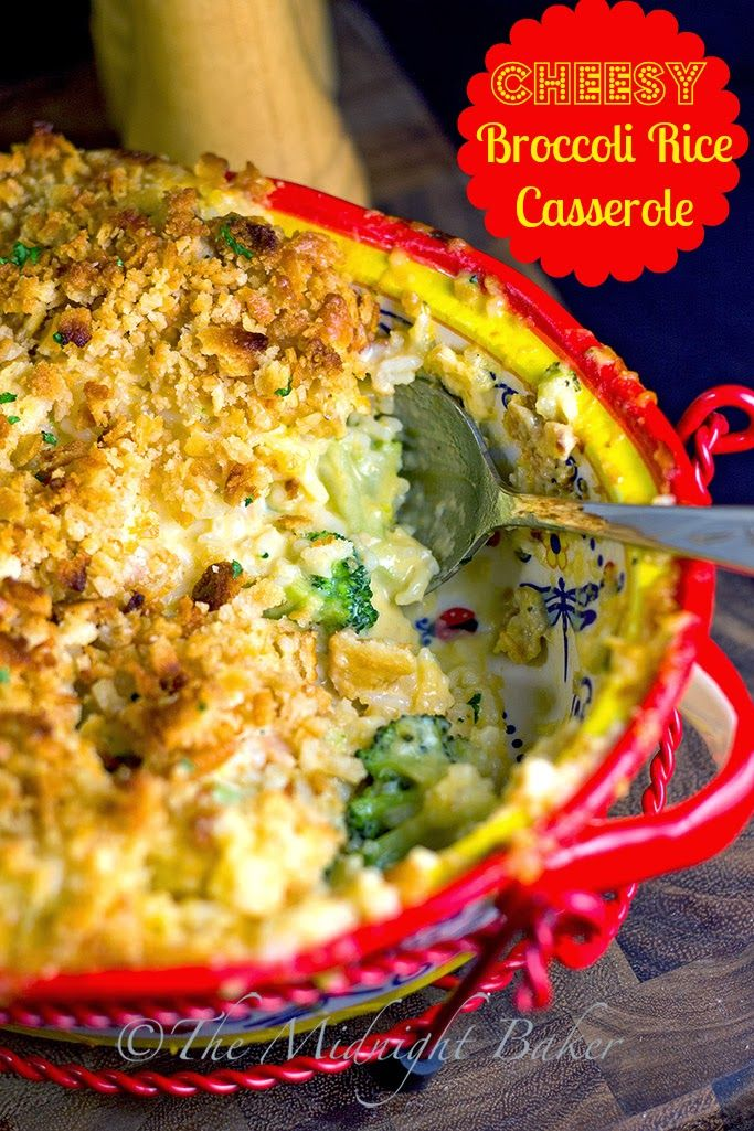 Cheesy Broccoli Rice Casserole:  you can add chicken and substitute quinoa for the rice.  Yummy.