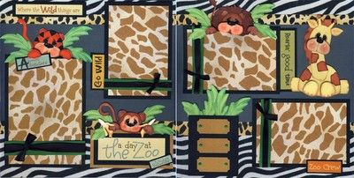 Day at The Zoo 2 Premade Scrapbook Pages Family Paper Piecing 4 Album Cherry | eBay