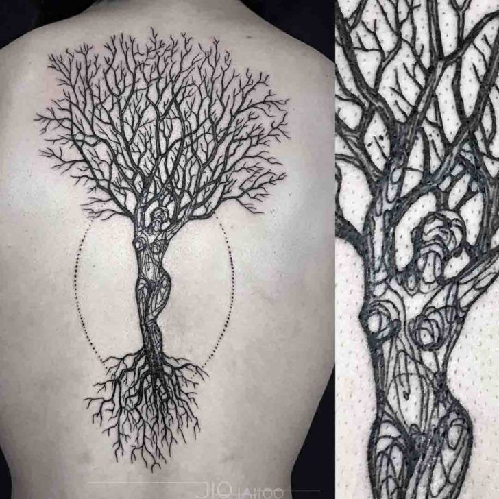 Woman Shaped Tree Of Life Tattoo I Would Want It Smaller But Also