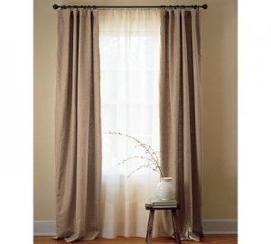 Cheap Curtain Ideas: Canvas Drop Clothes, Shower Curtains, Table Clothes, Burlap, Shower Curtains, Curtain Pannels (& add ribbon)...