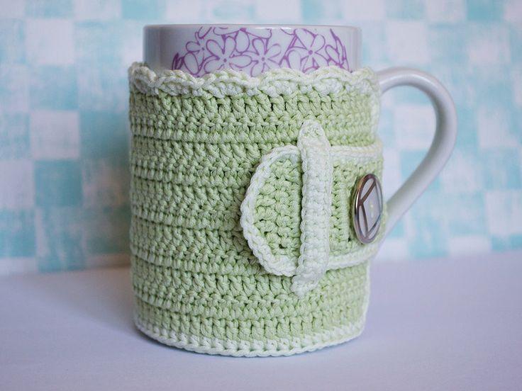 Handmade cozy mug cover. Crochet. AgujadelSur