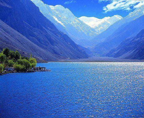 Stunning view of Satpara Lake, Skardu