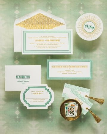 """Our Presidio invitation suite was a collaboration with @Martha Stewart Weddings Magazine and we couldn't be more excited to be featured in their """"Wedding Colors: Emerald and Jade"""" story!"""