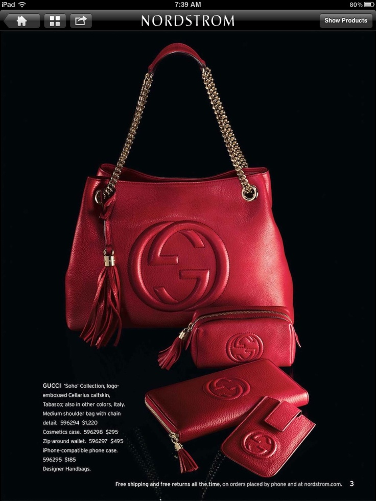Red Gucci purse. Fabulous!  Nordstrom catalog