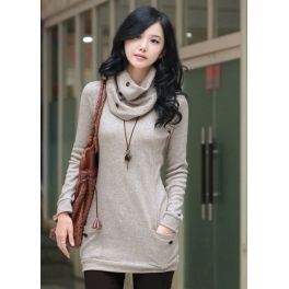 Grey Cotton Sweater with Scarf $29.99