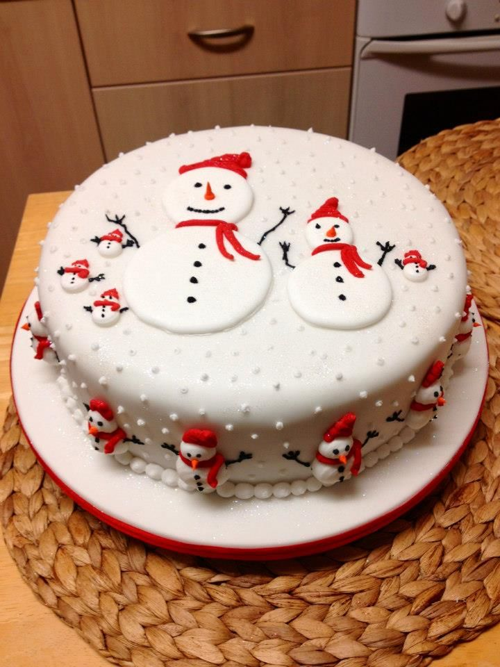 Snowmen cake--white and red                              …