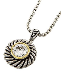 """15"""" + EXT Clear Cubic Zirconia Round Pendant Necklace Retail - $31.50 You Pay - $15.75 w/ free shipping in the US."""
