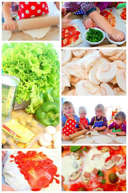 Leuk: Zelf pizza's bakken en beleggen (voor recepten: zie de andere pins op Italiaans kinderfeestje) #kinderfeestje #Italiaans #kookfeestje #pizza