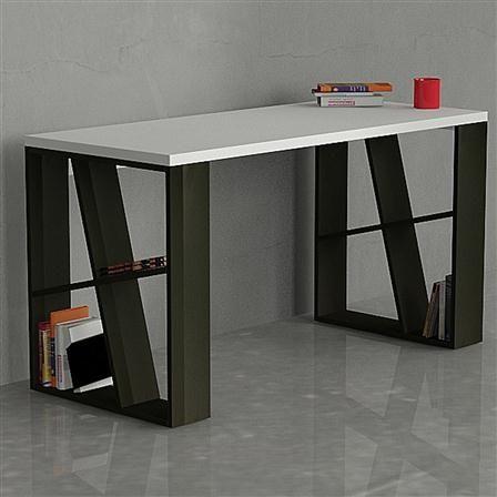 Decortie Honey Office Desk, White & Oak