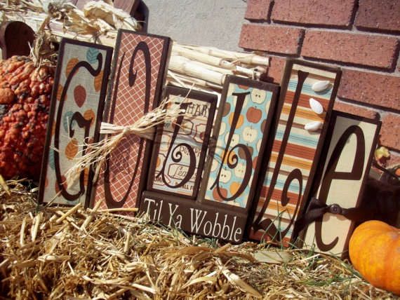 My new Gobble blocks that I made and just listed on etsy for $24.  I love em!