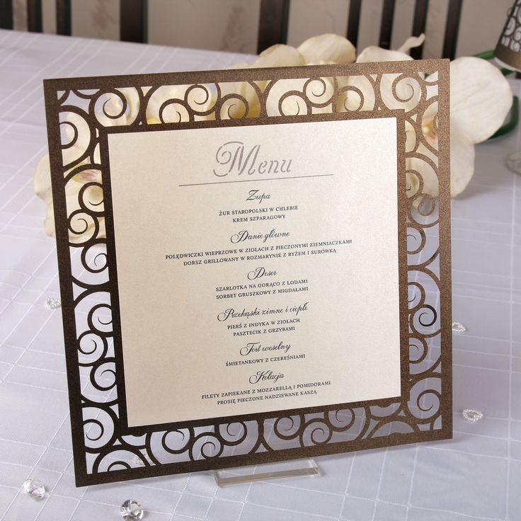 Wycinane laserowo menu weselne.