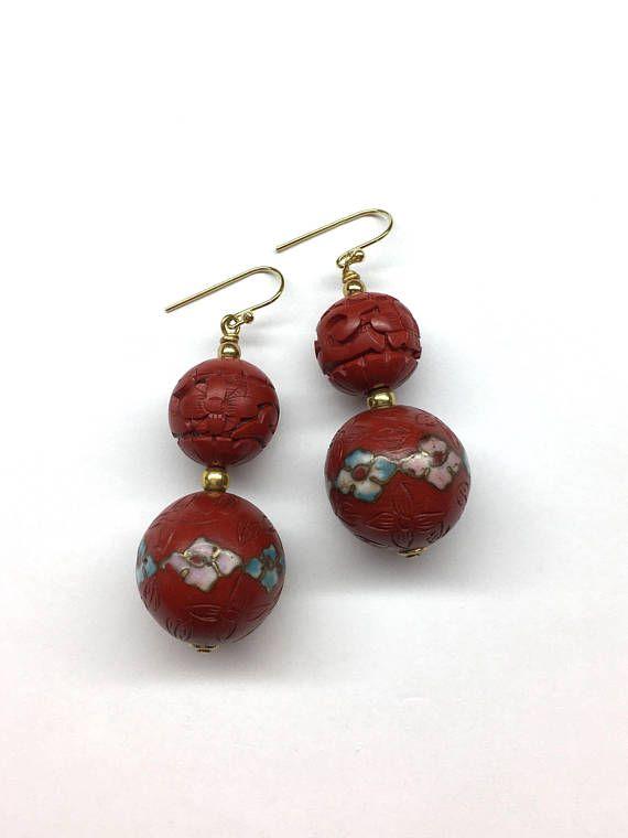 Cinnabar Earrings Cinnabar with Cloisonne Earrings Vintage