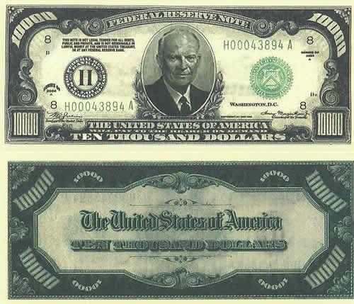 Ten thousand dollar bills, 10000 dollars, 10000 dollar bills, ten thousand dollar bill