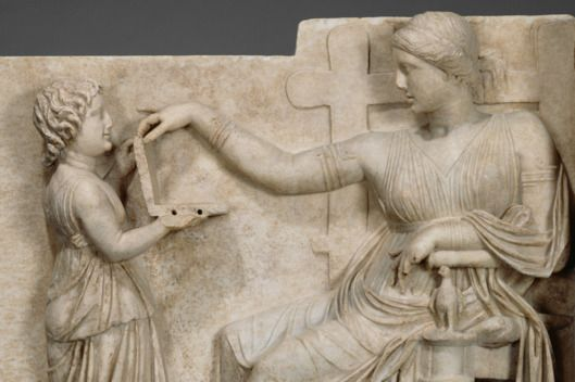 Gravestone with a Woman and Her Attendant; Unknown; (Delos?), East Greece; about 100 B.C.; Marble; 94.6 x 120.7 x 21.6 cm (37 1/4 x 47 1/2 x 8 1/2 in.); 72.AA.159