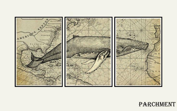 Whale art print, Nautical decor, map art, world map wall art, whale art Tryptich