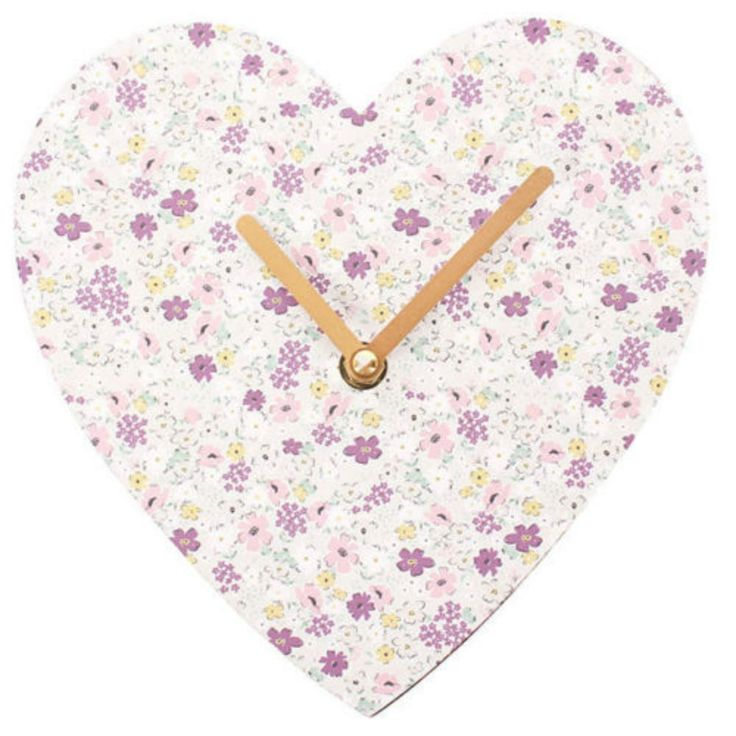 Floral Florella Print Shabby Chic Heart Shaped Small Wall Clock Home Decor Gift