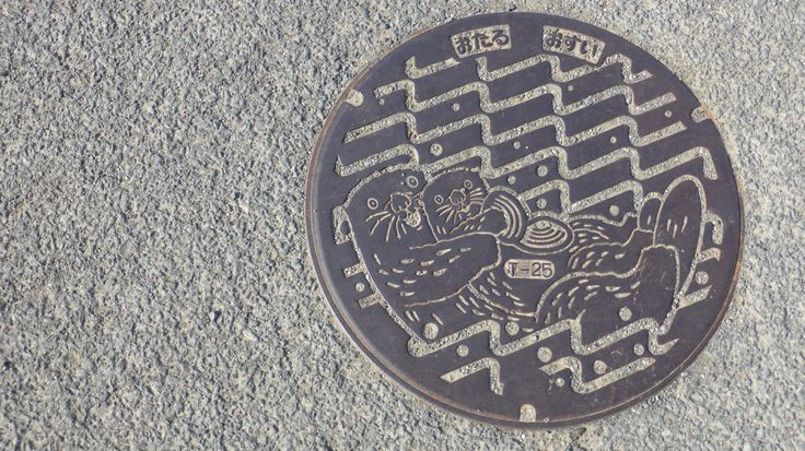 This manhole reflects images of Japanese otters.