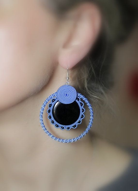 Blue Soutache Earrings Blue Hoop Earrings by HeriniasJewelryChest, $35.00