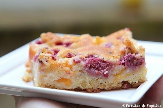 Gâteau pêches framboises - Carré