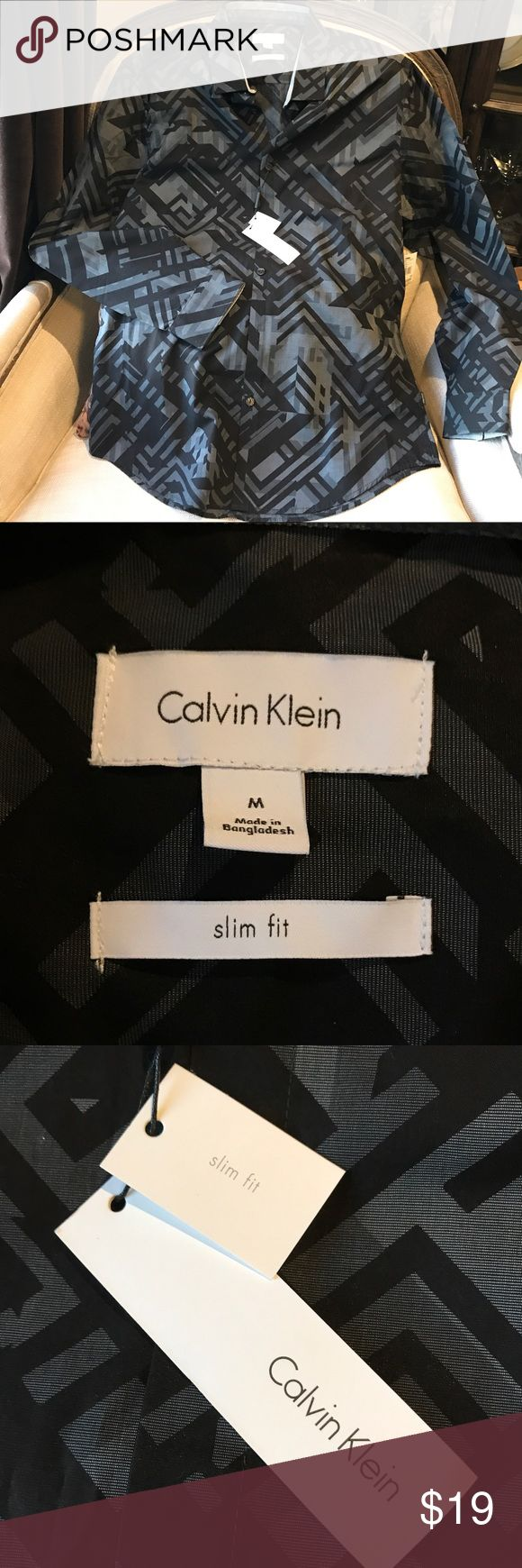 NWT Calvin Klein Slim Fit Dress Shirt, Med What a great date night Shirt!  Brand new with tags, slim fit, size Medium Calvin Klein Shirts Dress Shirts