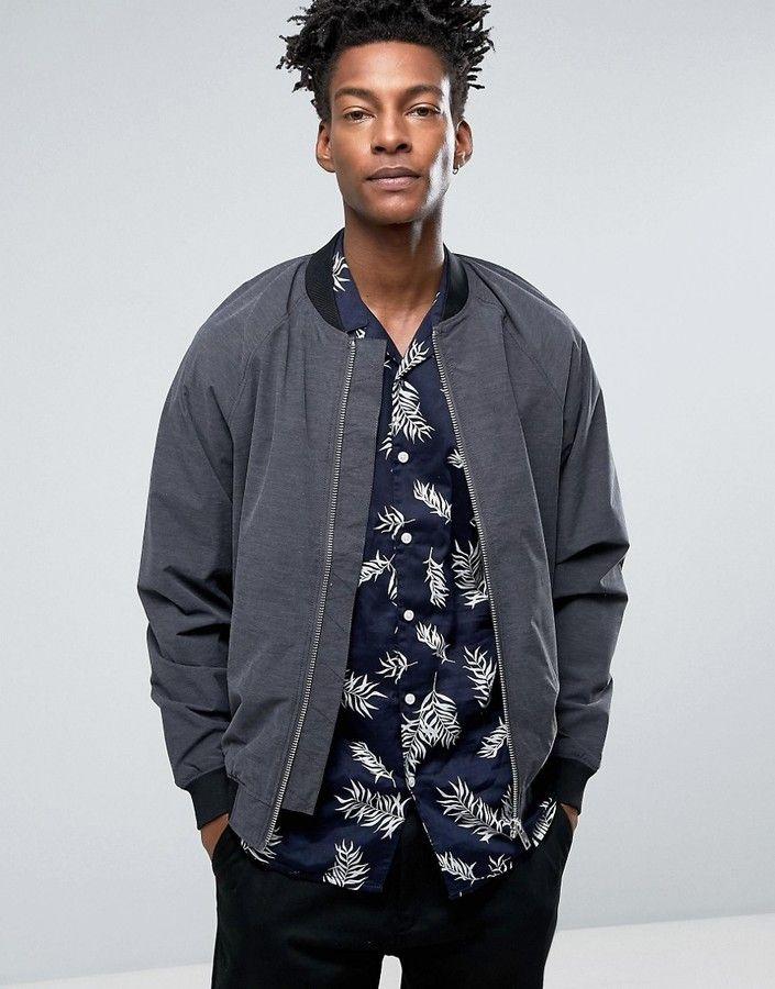 Minimum Starego Printed Bomber Jacket Slim Fit in Dark Gray