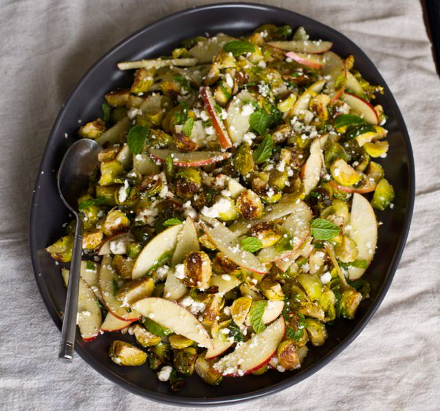 Roasted Brussels Sprout, Apple, and Feta salad is a hearty side dish to keep you Cool through the winter harvest