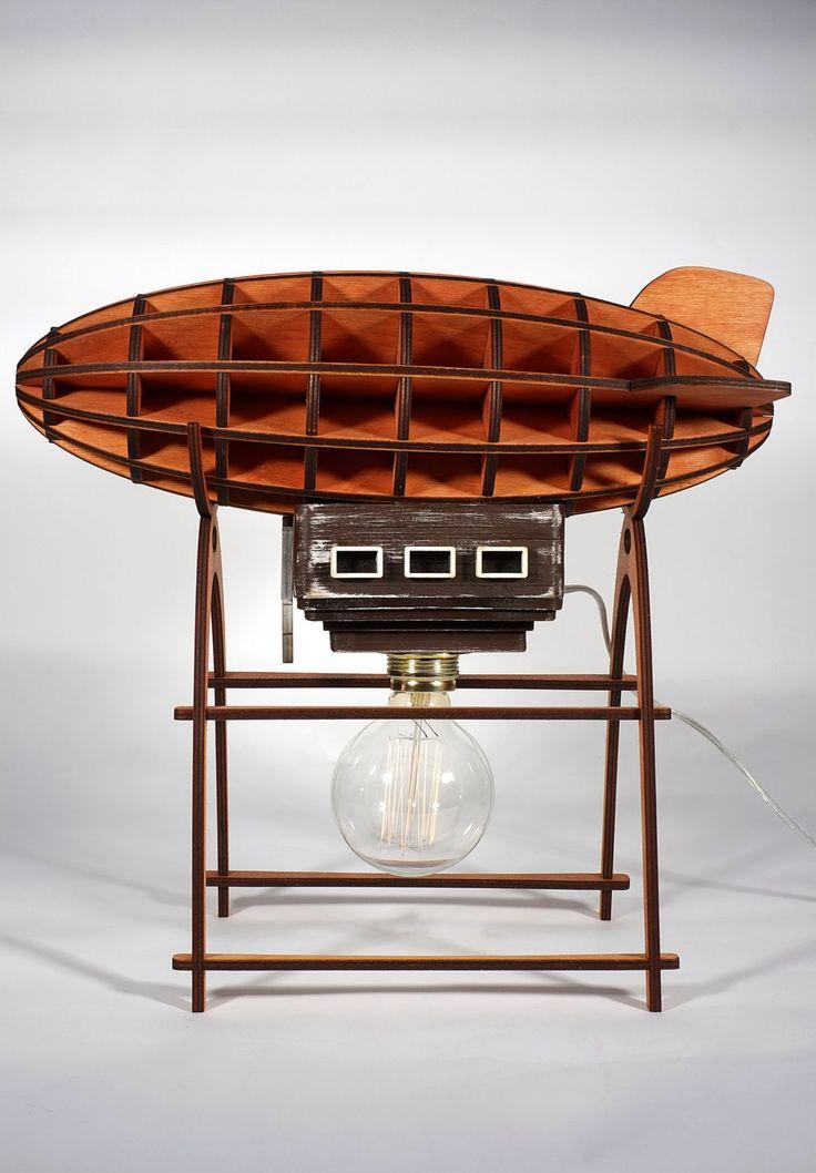 Airship Lamp Wooden Lamp (Zeppelin / Aerostat Light) Decor Air Balloon  Aerostat Zeppelin Retro