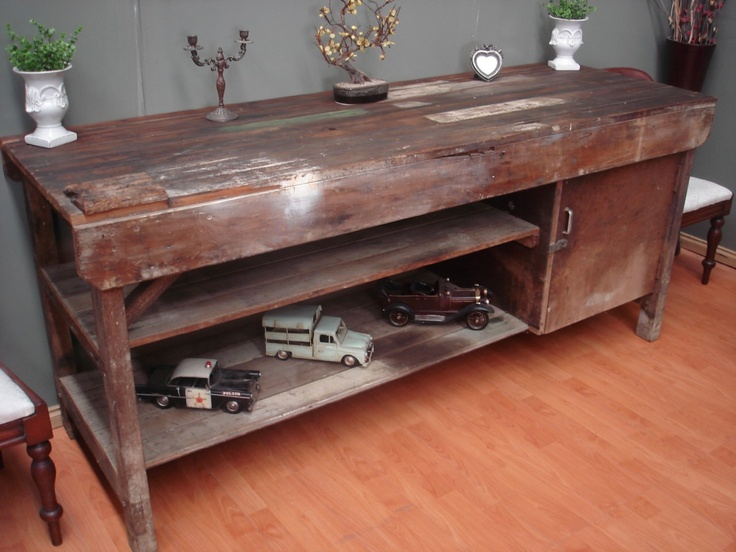 Antique Industrial Rustic Kitchen Island Work / Bench Hall
