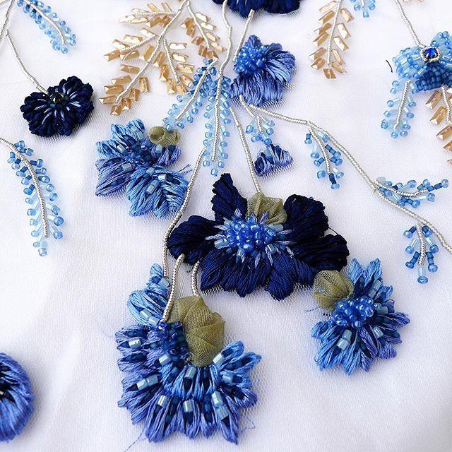Something blue. New #floral #embroidery #design... Fresh of the #tambour | #handembroidery #gold #sequins #silk #thread #needlework #blues #applique #somethingblue #wedding #bridal #heirloom #luxury #handmade #artisanal #summerwedding2016 #ethicallymade #madetomeasure #custommade #bridalfashion #embellishments #fashion #bridalcouture #sayyes #ido