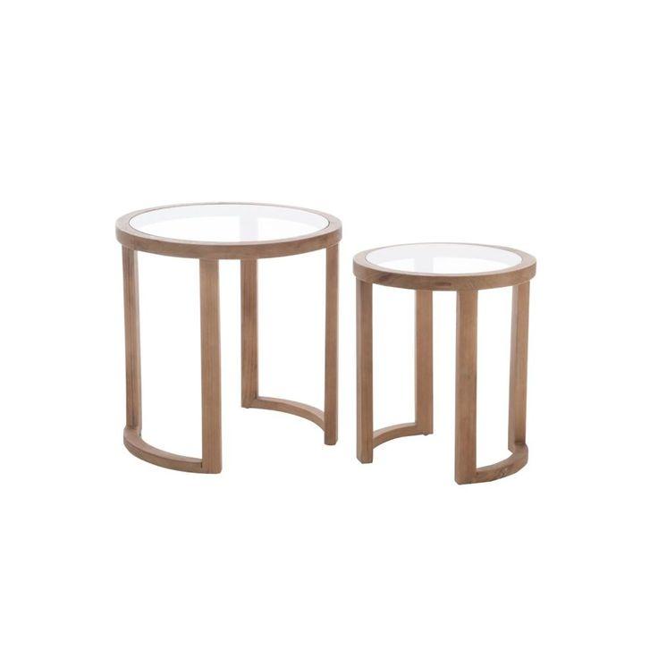 Lot de 2 tables gigognes sapin naturel et plateau verre D61 x H62cm - Pier Import