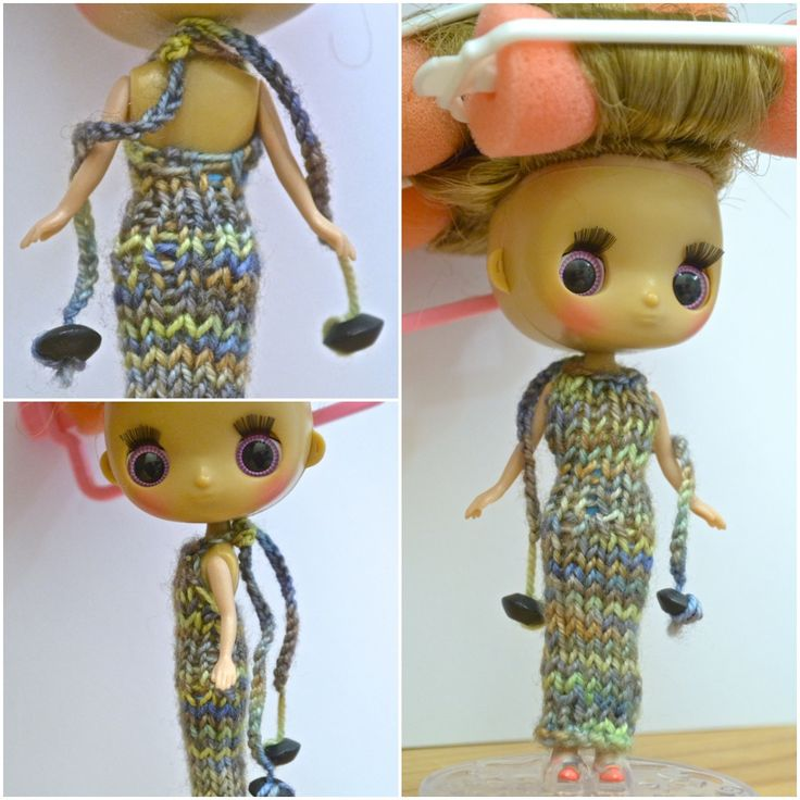 Dollcena (Lilo) in hand knitted dress.