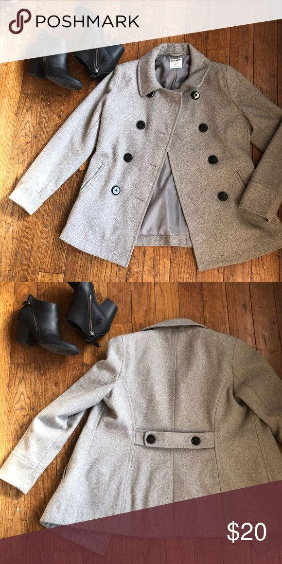 Old navy pea coat Old navy grey pea coat with big black buttons  Guc Old Navy Jackets & Coats Pea Coats