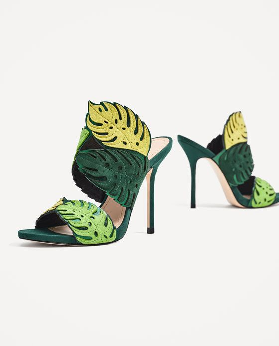 Image 4 of WRAP-AROUND LEATHER LEAF SANDALS from Zara