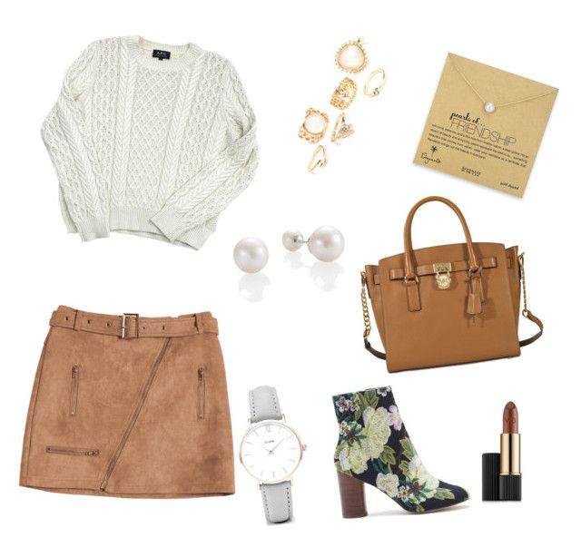Untitled #137 by ioannagesouli on Polyvore featuring polyvore fashion style A.P.C. Sole Society MICHAEL Michael Kors Dogeared CLUSE Estée Lauder clothing