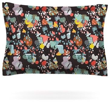 "Akwaflorell ""At Home"" Black Multicolor Pillow Sham (Cotton, 30"" x 20"") contemporary-pillowcases-and-shams"