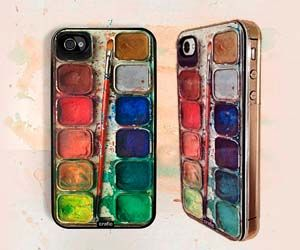 Show off your artistic side with this iPhone case that looks like a painter's set of watercolors. These hand made iPhone cases are available in three different case colors and are a perfect gift idea for painters or people with a creative side in general.