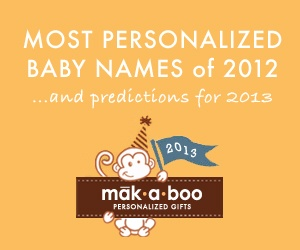 Top 10 Most Personalized Baby Names of 2012 & predictions for 2013!