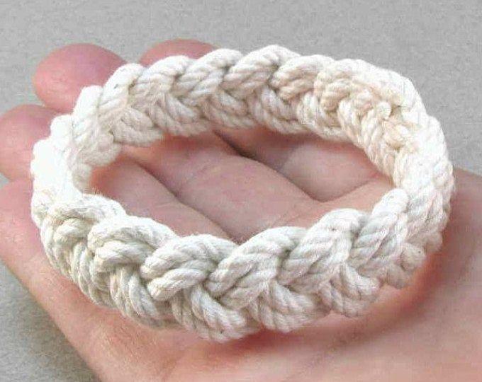 Rope Bracelet White Cotton Turks Head Knot Bracelet Nautical