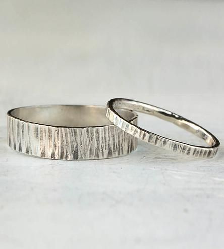 Hammered Sterling Silver Couples Bands – Set of 2 | This matching set of sterling silver rings is available in two... | Rings