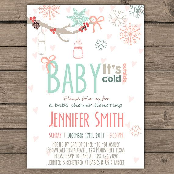 Baby its cold outside Baby Shower invitation door Anietillustration