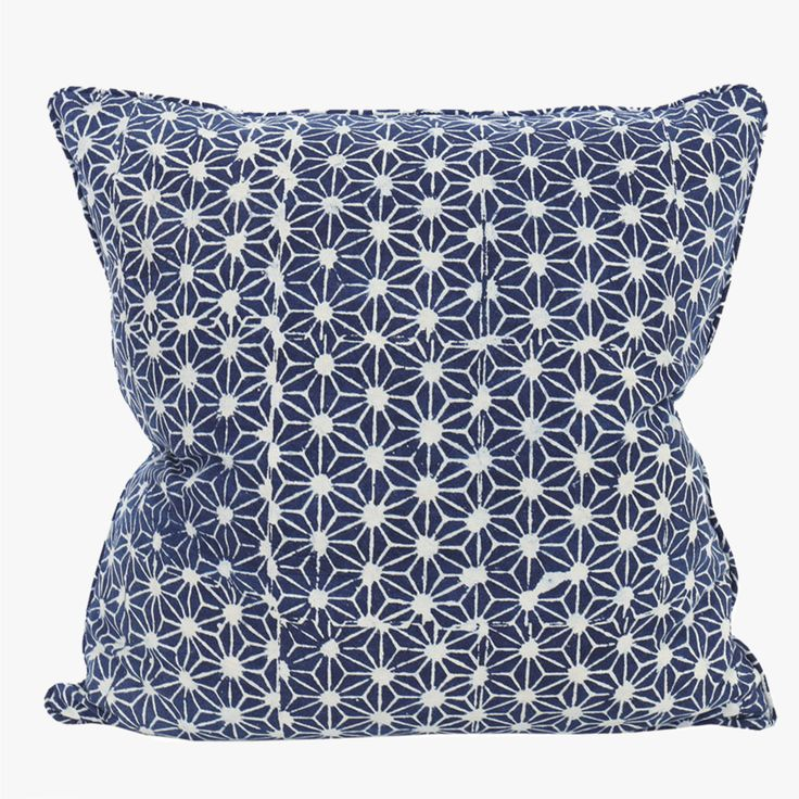This beautiful Walter G Stars Indigo Pillow Cover was inspired by a tiny slither of fabric from an antique Japanese kimono, and then hand block printed.