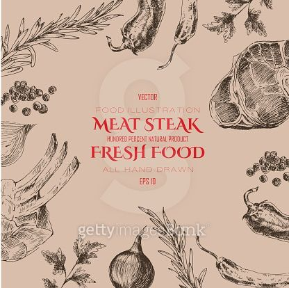 vector meat steak sketch drawing designer template. food hand-drawn