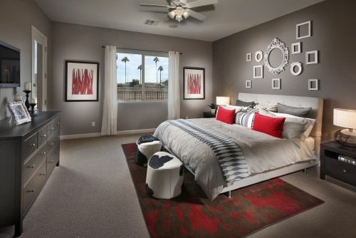 love the frames, the gray and the pop of color via houzz