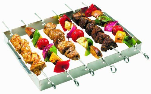 GrillPro 41338 Stainless Steel Shish Kebab Set by GrillPro. $12.97. 6 Stainless steel skewers. Great gift for grill masters. Made of stainless steel. 13-Inch by 10-Inch rack. Folds for easy storage. A great gift. GrillPro's Stainless Steel Shish Kebab Set is great for any griller. The set includes kebab rack and 6 stainless steel skewers. This shish kebab set also folds for easy storage.. Save 19% Off!