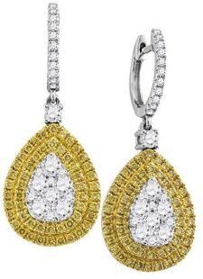 18k White Gold Yellow Diamond Teardrop Cluster Dangle Earrings