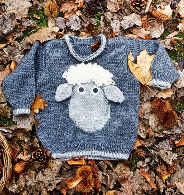 Strømpegarn er blødt og slidstærkt og genialt til strømper men også til denne søde barnesweater med et lille sødt får.