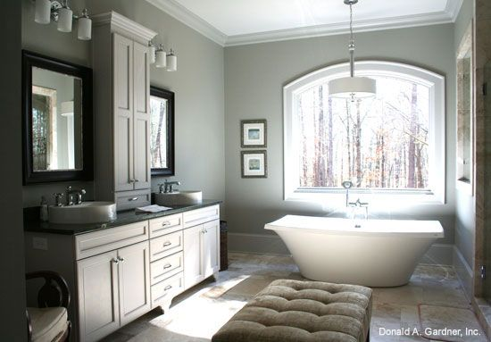 HOT HOUSING TRENDS 2015: BATHROOMS. One big trend in bathrooms for the new year is the free-standing bathtub. See more on our #House #Plans #Blog http://houseplansblog.dongardner.com/hot-housing-trends-2015-bathrooms/