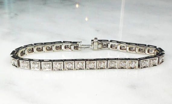 14aa16444066a Vintage Diamond Tennis Bracelet 14k Gold Diamond Bracelet | Belmar ...