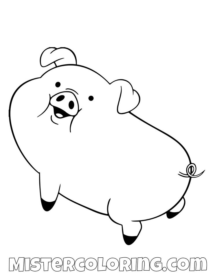 Waddles Posing Gravity Falls Coloring Pages For Kids ...